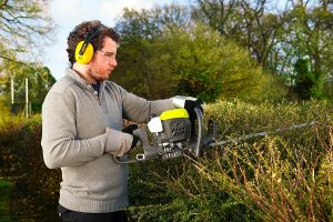 Ryobi Petrol Hedge Trimmer at work
