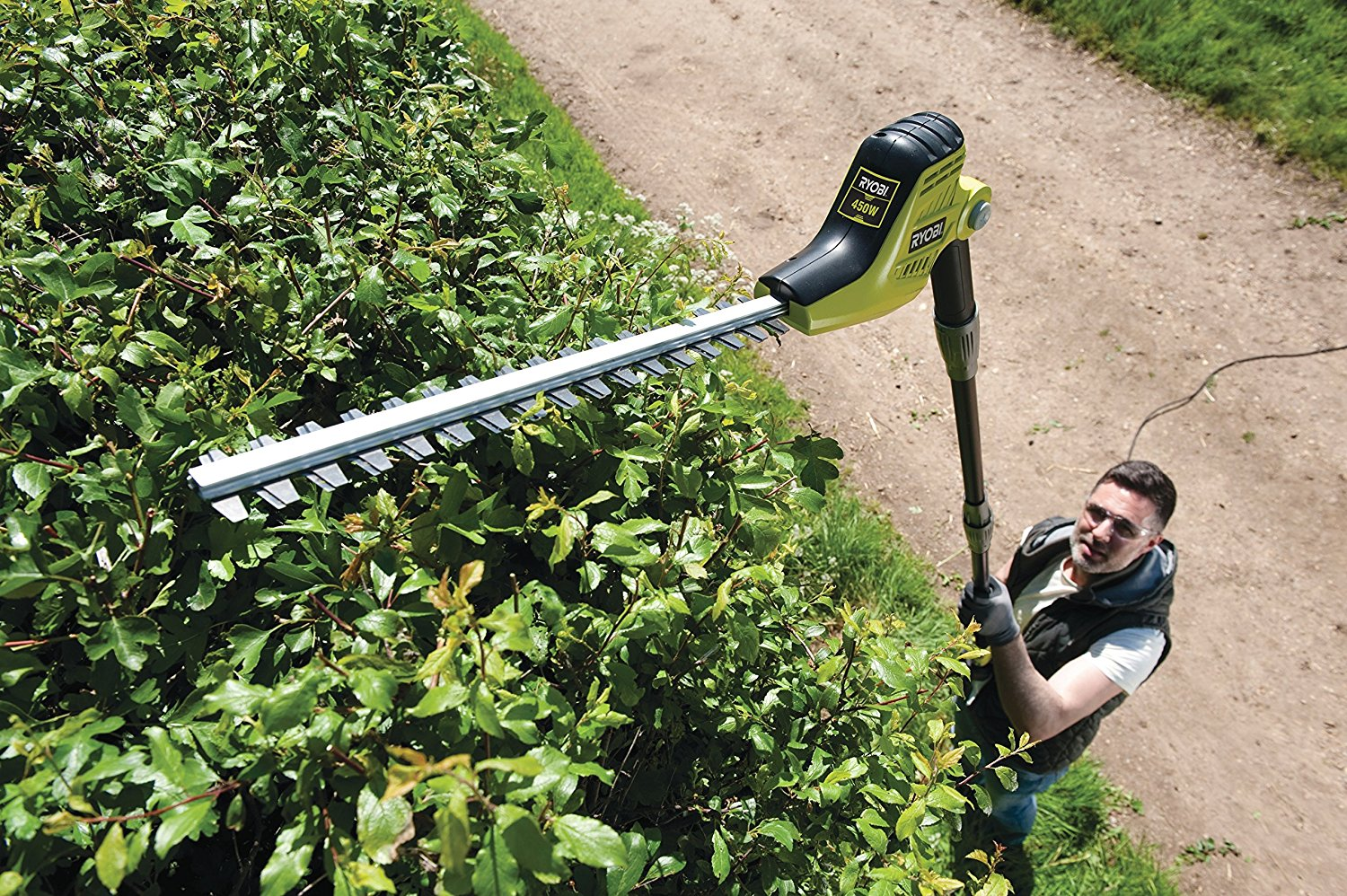 Ryobi Pole Hedge Trimmer In Action